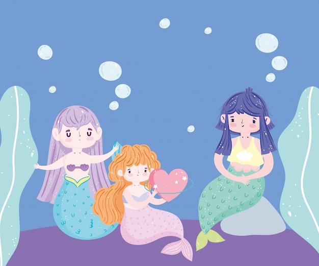 Śliczne małe syreny z bąbelkowym rockiem seawee woda fantasy sen kreskówki
