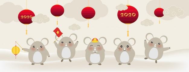 Śliczne małe szczury, szczęśliwego nowego roku 2020 rok zodiaku szczurów