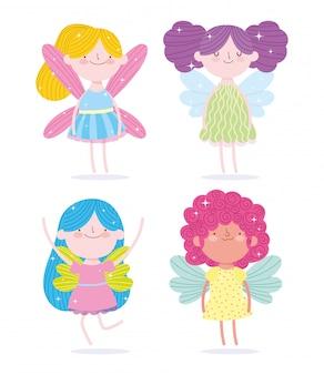 Śliczne małe wróżki księżniczka ze skrzydłami postaci z kreskówek