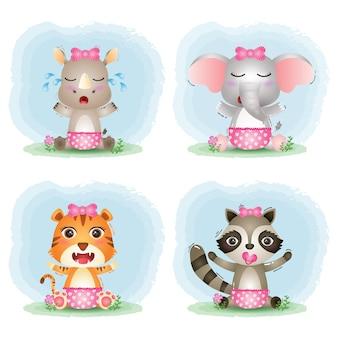 Śliczne małe zwierzątka: nosorożec, słoń, tygrys i szop.