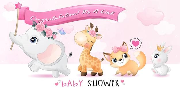 Śliczne małe zwierzęta z ilustracją baby shower