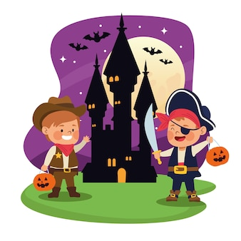 Śliczne mali chłopcy przebrani za projekt ilustracji wektorowych pirata i kowboja