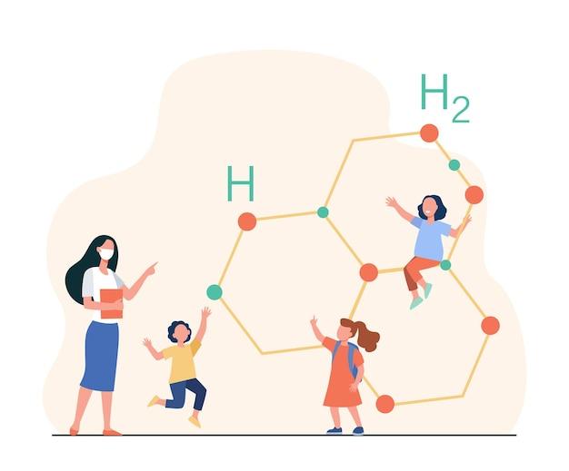 Śliczne malutkie dzieci uczą się chemii z nauczycielem. ilustracja kreskówka