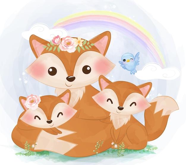 Śliczne mamusie i lisy lisy w akwareli ilustracji