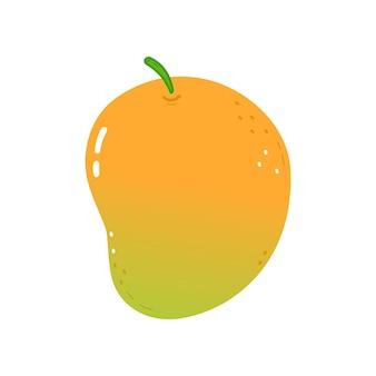 Śliczne mango wektor ręcznie rysowane kreskówka kawaii charakter ilustracja ikona