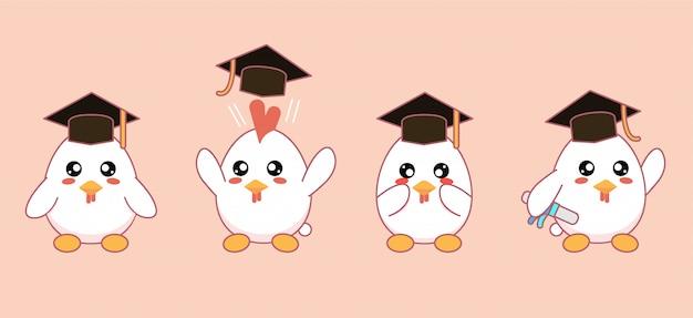Śliczne maskotki kurczaków kawaii z czapkami i dyplomami ukończenia szkoły