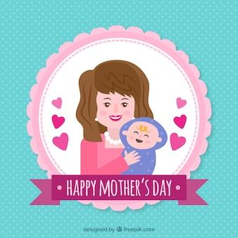 Śliczne matki dzień tła szczęśliwa kobieta z dzieckiem