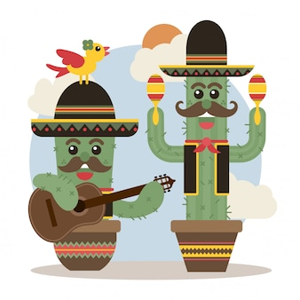 Śliczne meksykańskie kaktusowe mariachi