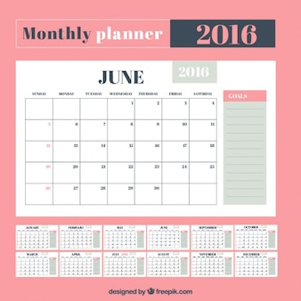 Śliczne miesięczna planowanie