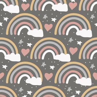 Śliczne minimalistyczne rainbow z gwiazdami i modnymi kolorami chmury wzór