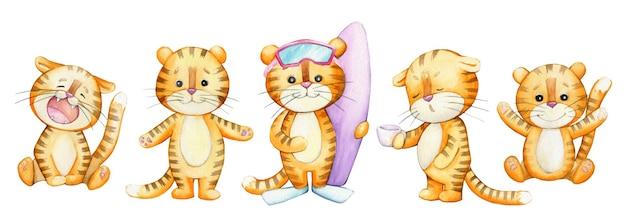 Śliczne młode tygrysy, w stylu kreskówki, na na białym tle. zwierzęta akwarelowe.
