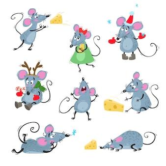 Śliczne myszy w różnych pozach. z serem, śpiewem, leżeniem, w czapce bożonarodzeniowej i rogach renifera. symbol chińskiego horoskopu. ilustracje.