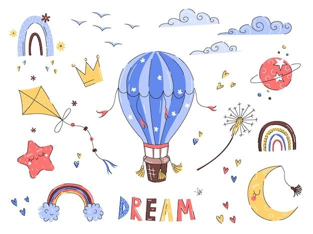 Śliczne nadruki dla dzieci z balonem, latawcem, tęczą w ręcznie rysowanym stylu do projektowania przedszkola