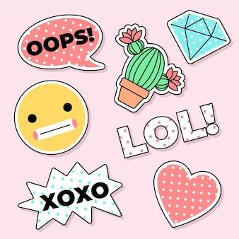 Śliczne naklejki emoji mediów społecznościowych