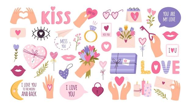 Śliczne naklejki walentynkowe dla terminarza, listu miłosnego lub pamiętnika. dekoracja dziennika ślubu kreskówka, ręka i serce. romantyczny pocałunek wektor zestaw
