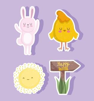 Śliczne naklejki wielkanocne, króliki, kurczaki i słońce