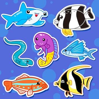 Śliczne naklejki zwierząt morskich