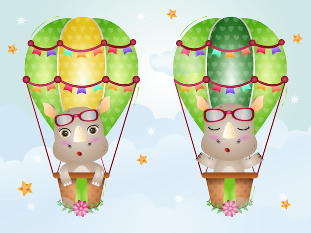 Śliczne nosorożce na balonie