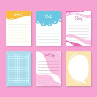 Śliczne notatki z notatnika i kolekcja kart