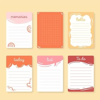 Śliczne notatki z notatnika i opakowanie kart