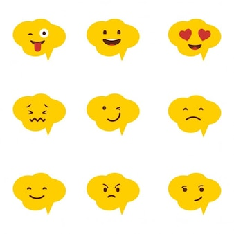 Śliczne objaśnienie bubble emotikon ikona zestaw