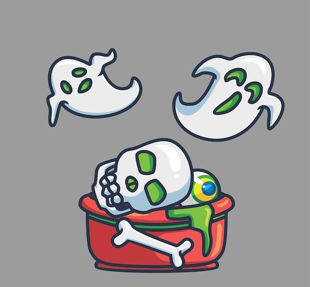 Śliczne oczy kości czaszki na duchu duszy miski. koncepcja zdarzenia halloween kreskówka na białym tle ilustracja. płaski styl nadaje się do naklejki icon design premium logo vector. postać maskotki