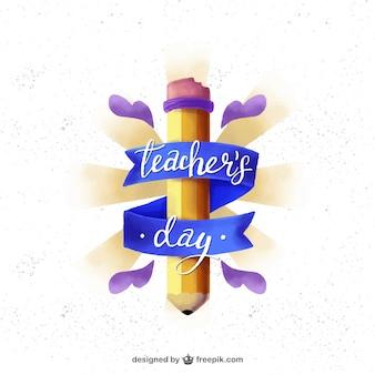 Śliczne odznaka dzień nauczyciela z ołówkiem i taśmy
