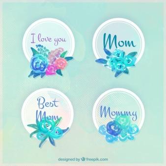 Śliczne odznaki akwarela dzień matki z kwiatami