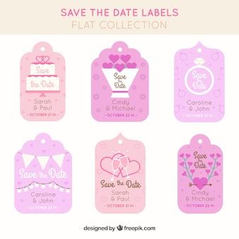 Śliczne opakowanie weselne etykiety z płaskim deseniem