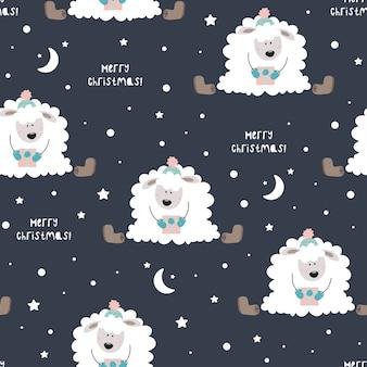 Śliczne owce w kapeluszu. gwiazdy, śnieg, kapelusz, płatki śniegu.