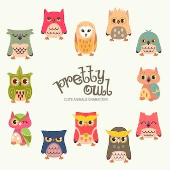 Śliczne owl postacie