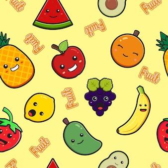 Śliczne owoce bezszwowe tło wzór ilustracja kreskówka płaski styl kreskówki