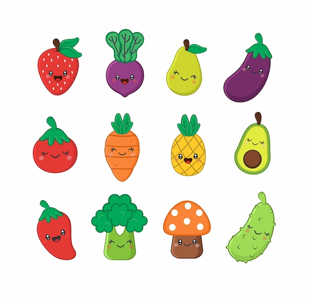 Śliczne owoce i warzywa w kawaii
