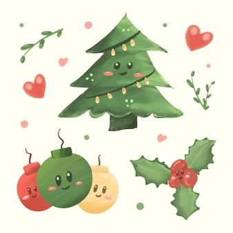 Śliczne ozdoby świąteczne z kreskówek z bombką choinkową i uroczymi kwiatowymi ornamentami