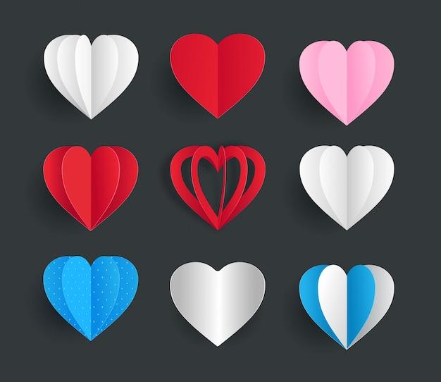 Śliczne papierowe serca wektor element szablonu kolekcji