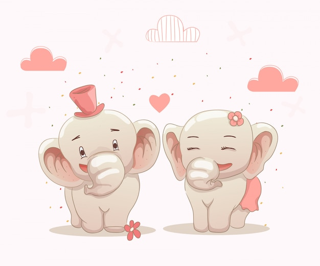 Śliczne pary słoni kochają się nawzajem