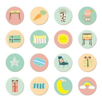 Śliczne pastelowe ikony dla dzieci