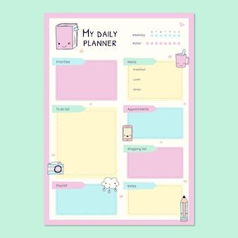 Śliczne pastelowe, urocze codzienne planowanie planu dnia