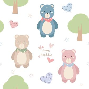 Śliczne pastelowe zwierzęta kreskówka doodle wzór