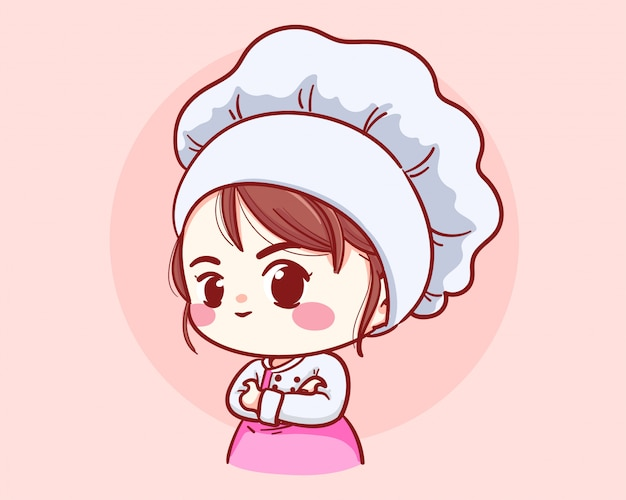 Śliczne piekarni szefa kuchni dziewczyny ręki krzyżowali uśmiechniętego kreskówki sztuki ilustraci loga.