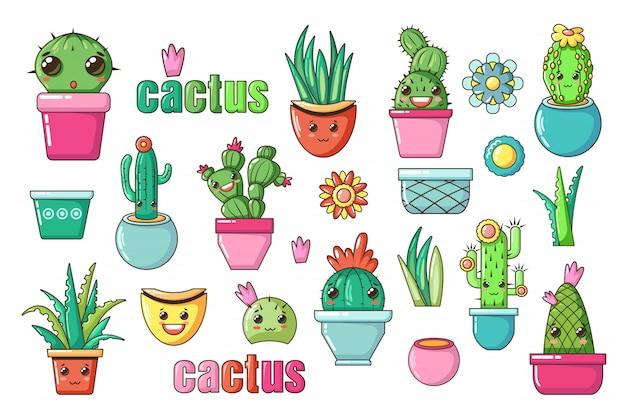 Śliczne piękne rośliny domowe kawaii. kaktus z kwiatami kawaii twarze w doniczkach. styl kreskówka na białym tle. zestaw ikon przedszkola