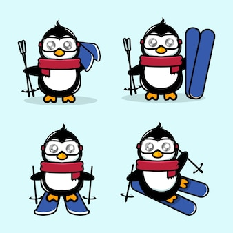 Śliczne pingwin maskotka ilustracja motywu narciarskiego