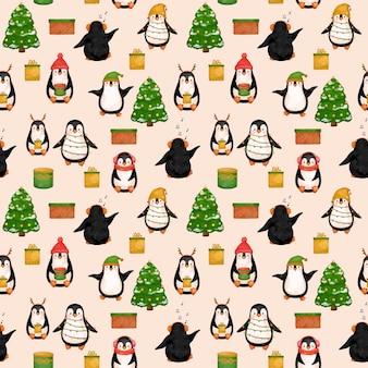 Śliczne pingwiny boże narodzenie wakacje bez szwu wzór