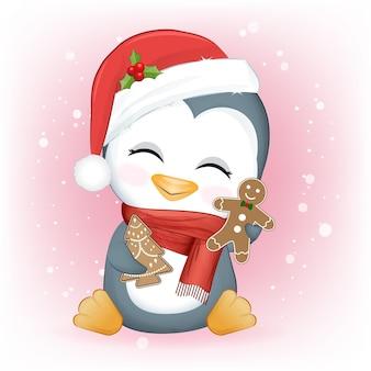 Śliczne pingwiny i pierniki świąteczna ilustracja