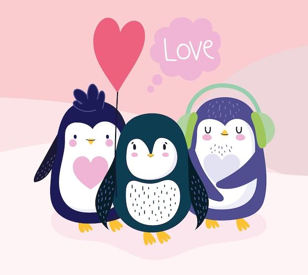 Śliczne pingwiny kreskówka balon piękny