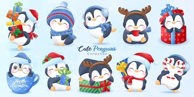 Śliczne pingwiny na boże narodzenie z akwarela ilustracja