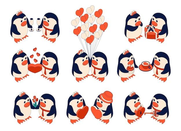 Śliczne pingwiny w miłości. postacie na walentynki
