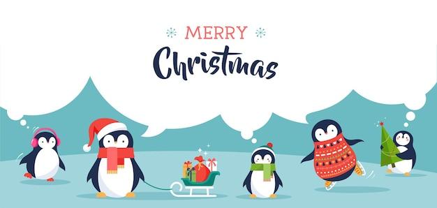 Śliczne pingwiny zestaw ilustracji - życzenia wesołych świąt