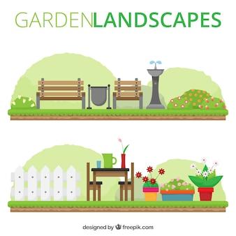 Śliczne płaskie krajobrazy ogrodowe