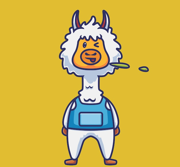 Śliczne plucie alpaki. koncepcja kreskówka natura zwierząt ilustracja na białym tle. płaski styl nadaje się do naklejki icon design premium logo vector. postać maskotki